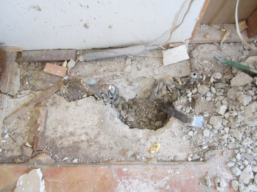 Experimental hole in concrete