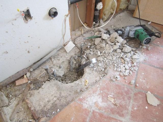 Hole around kitchen plumbing