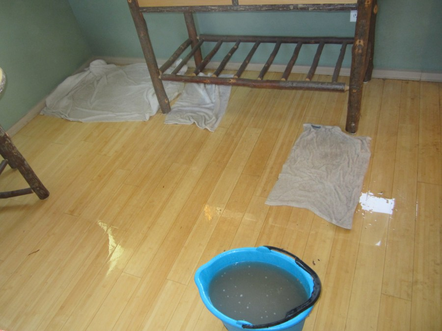 Flooded bedroom floor
