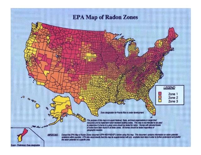 US Radon Zone Map