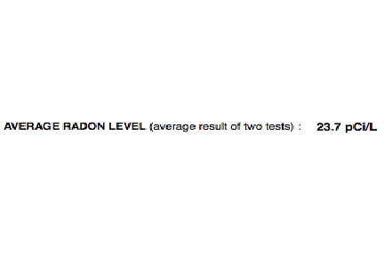 Radon Test Results 23.7 Pc/L