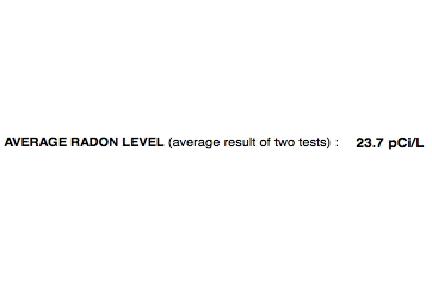 Radon Test Results 23.7 Pc/L