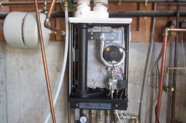 Boiler rehung and reconnected
