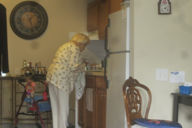 Mom doing the dishes