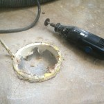 Cutting the drain pipe