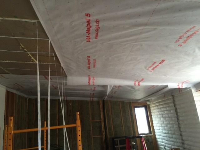 Mid ceiling tape hangs down