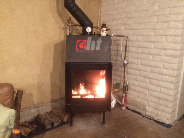 First Fire in Fireplace Boiler