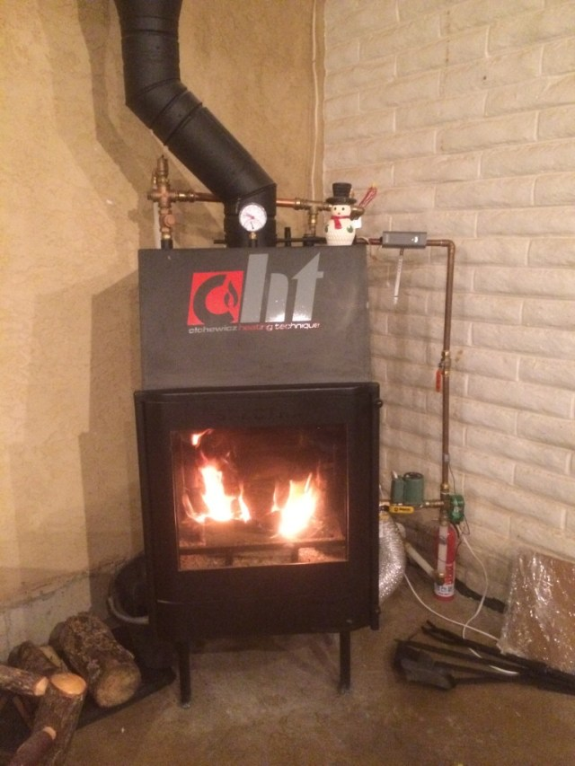 Fire in the fireplace boiler
