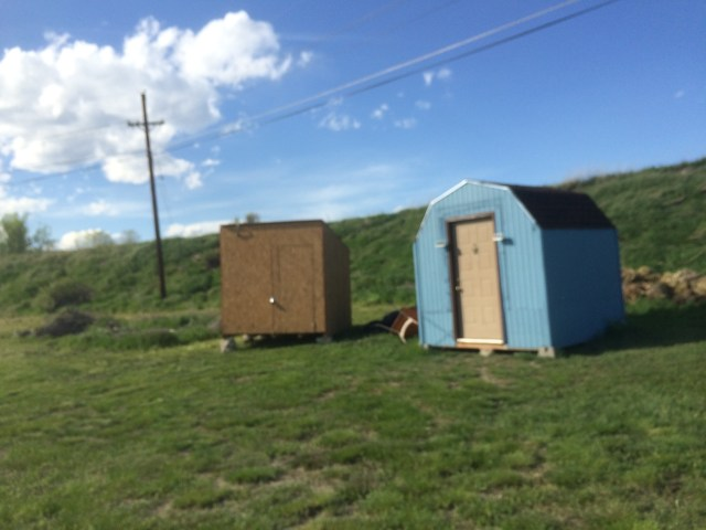Shed in Place next to Playhouse