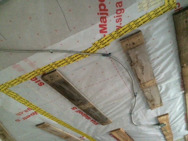 """Steel covered wire in ceiling 1 1/4"""" away from furring."""