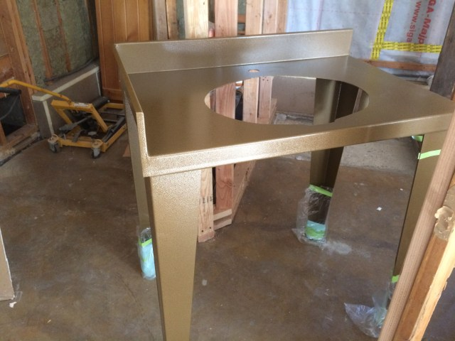 Bronze powder coated sink stand