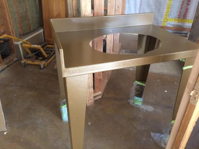 Bronze powder coated sink stand