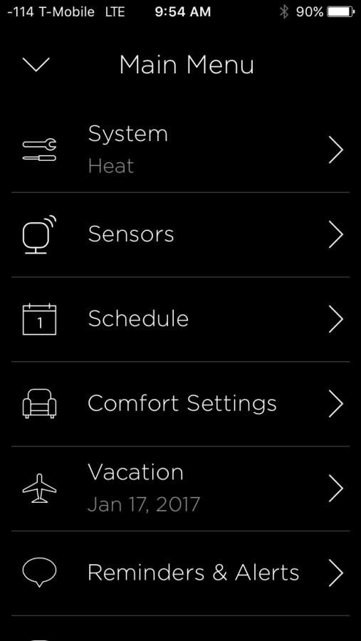 Ecobee Options Screen