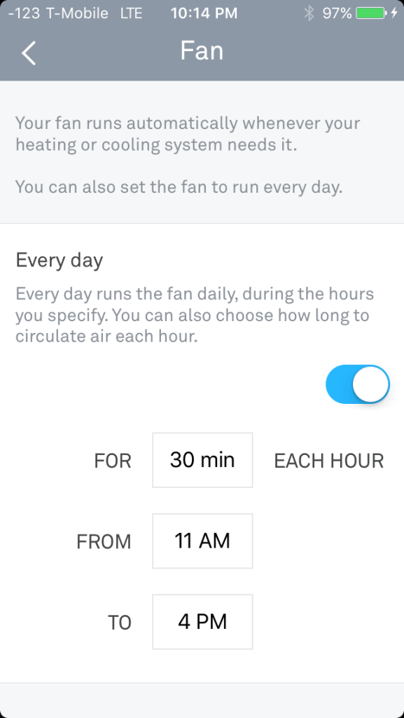 Setting Nest Fan Schedule