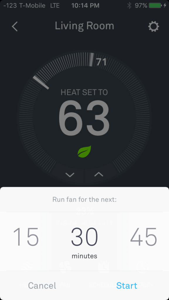 Setting Nest Fan Timer