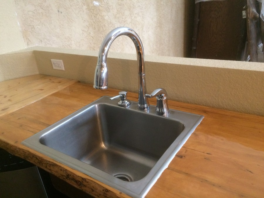 Sink faucet installed