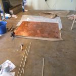 Copper glued to thin plywood