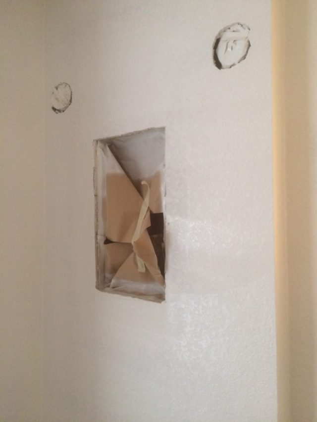 Drywall space for medicine cabinet