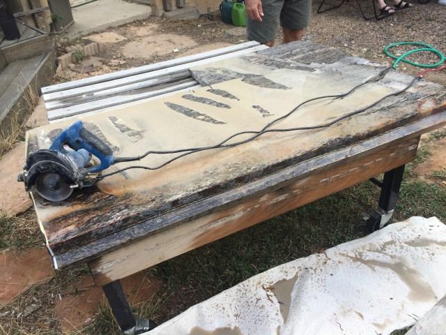 Granite cut on rolling cart
