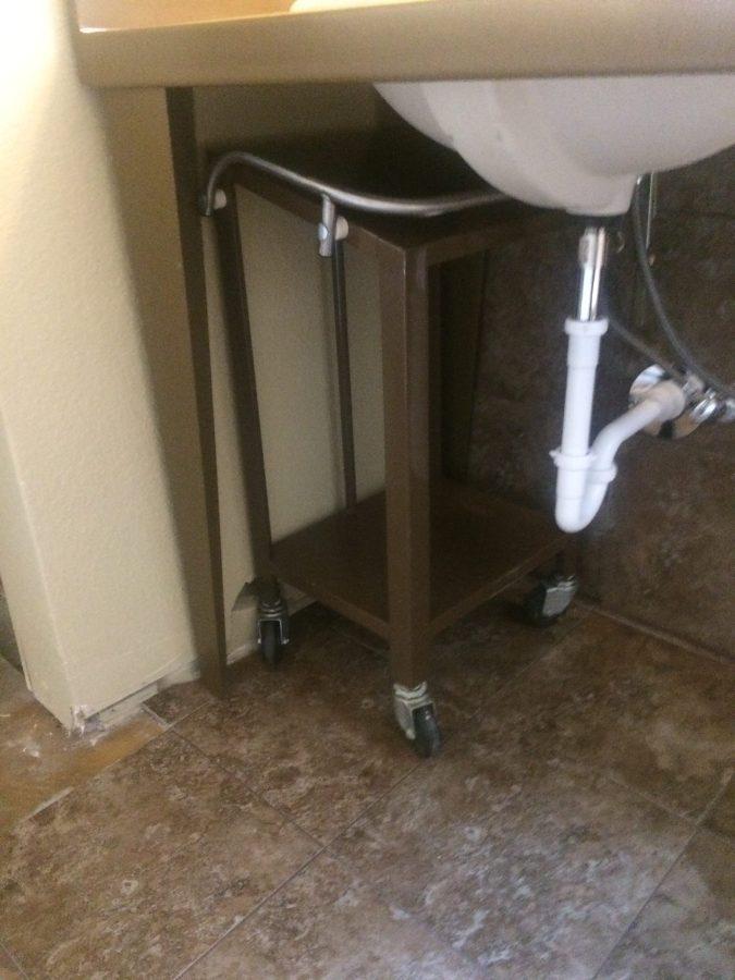 Storage cart under sink cabinet
