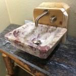 Box behind sink