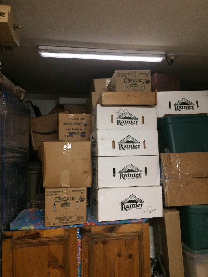 Boxes and furniture in garage
