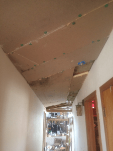 Hall Fire alarm before drywall