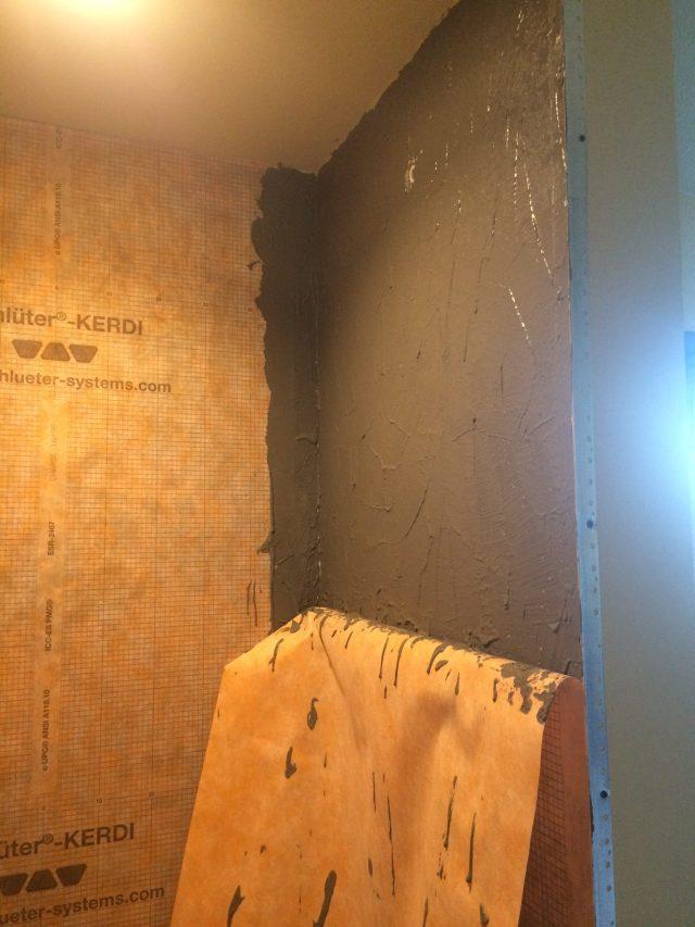 Half wall with upper half mortared