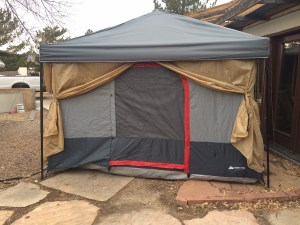 Tent door with walls