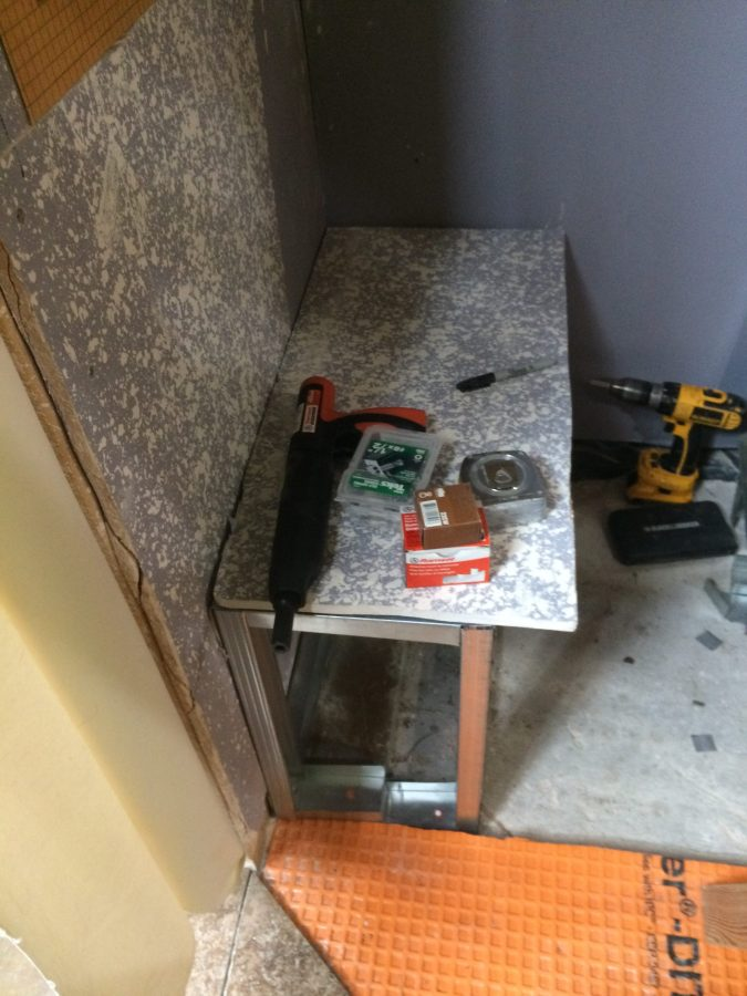 Bench top with tools