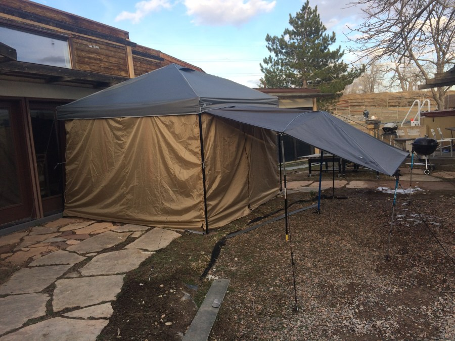 Tent set up at home