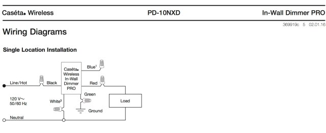 Caseta Pro Dimmer Single wiring diagram