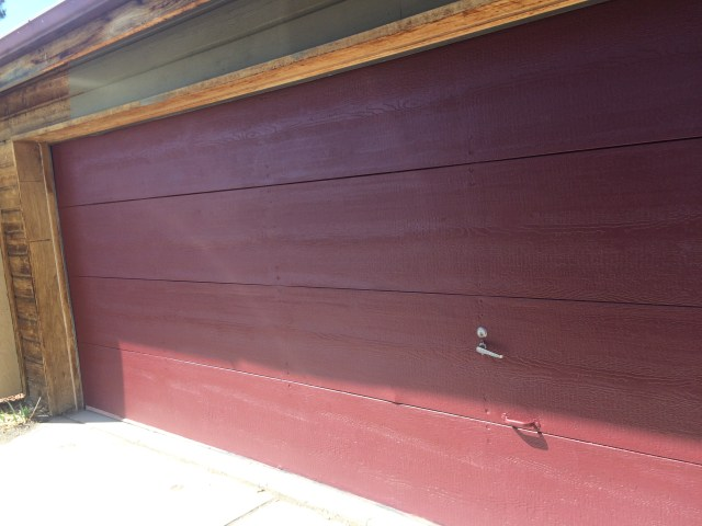 Newly painted garage door