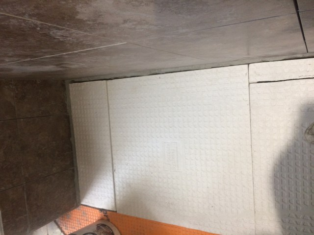 Kerdi shower base fitted at bench side