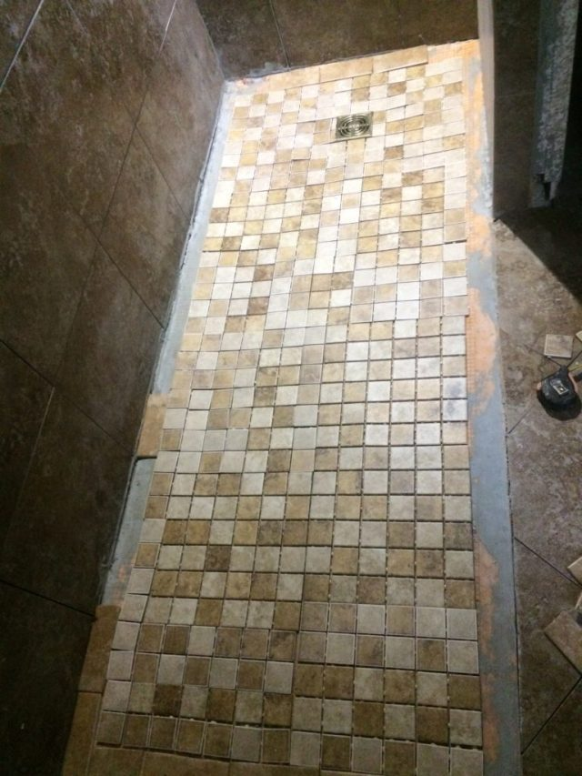 Shower mosaic and floor tiles