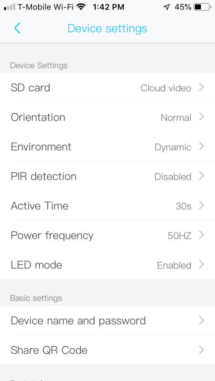 Device settings
