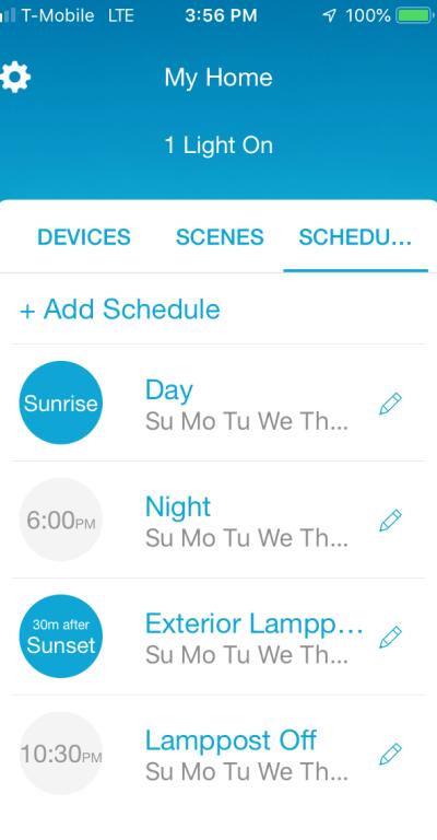 Lutron schedules