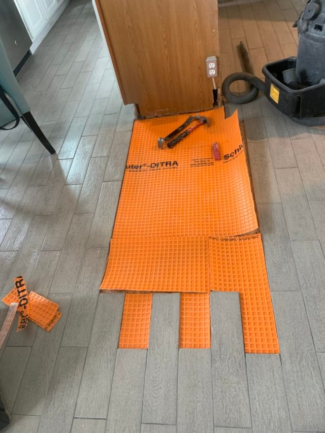 Ditra membrane cut to fit