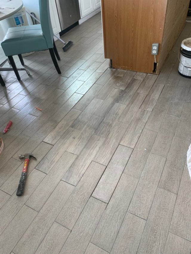 Tile mortared into place