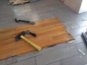Hardwood under the cabinet