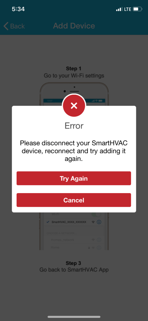 Mini split wifi error message