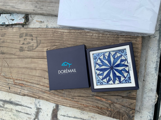 Handmade sample tile a gift from Doremail