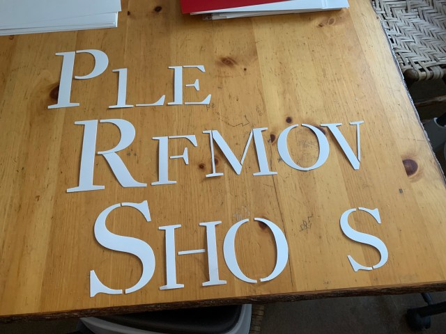 Stencil letters for sign