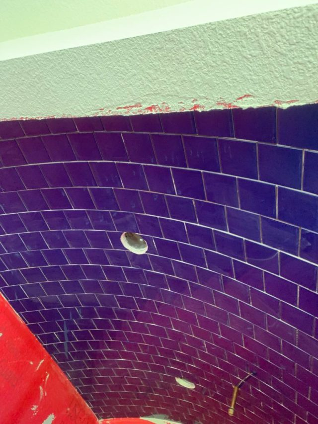 Blue tile on arched ceiling