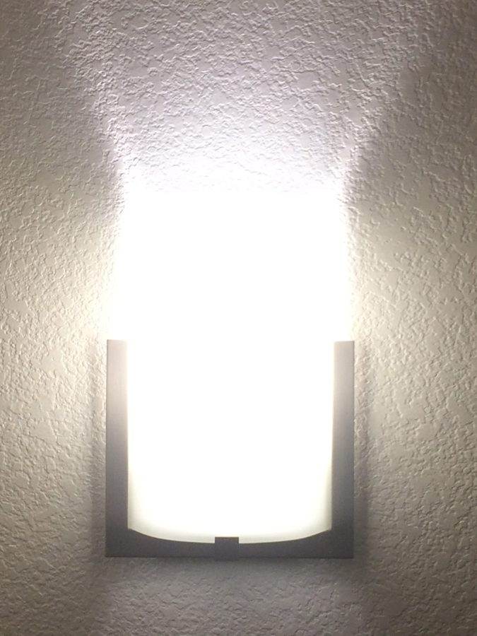 Curved glass modern stair light.