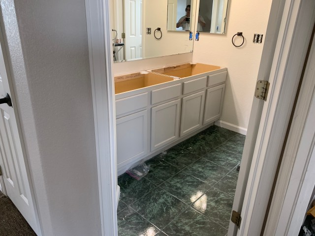 Painted gray cabinets