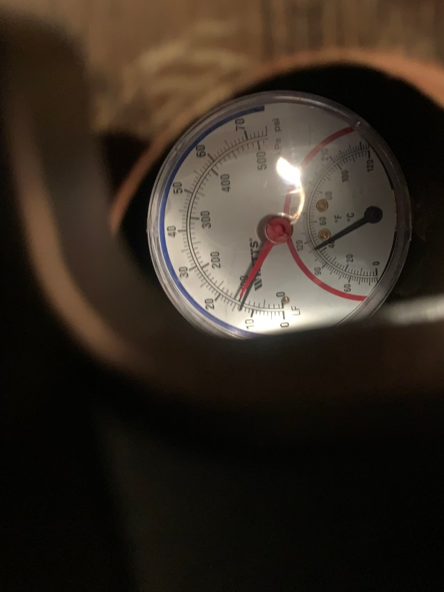 Pressure and temperature gauge