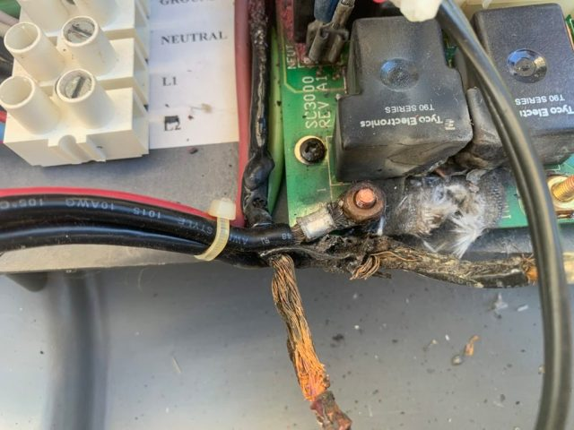 Burned wires and board