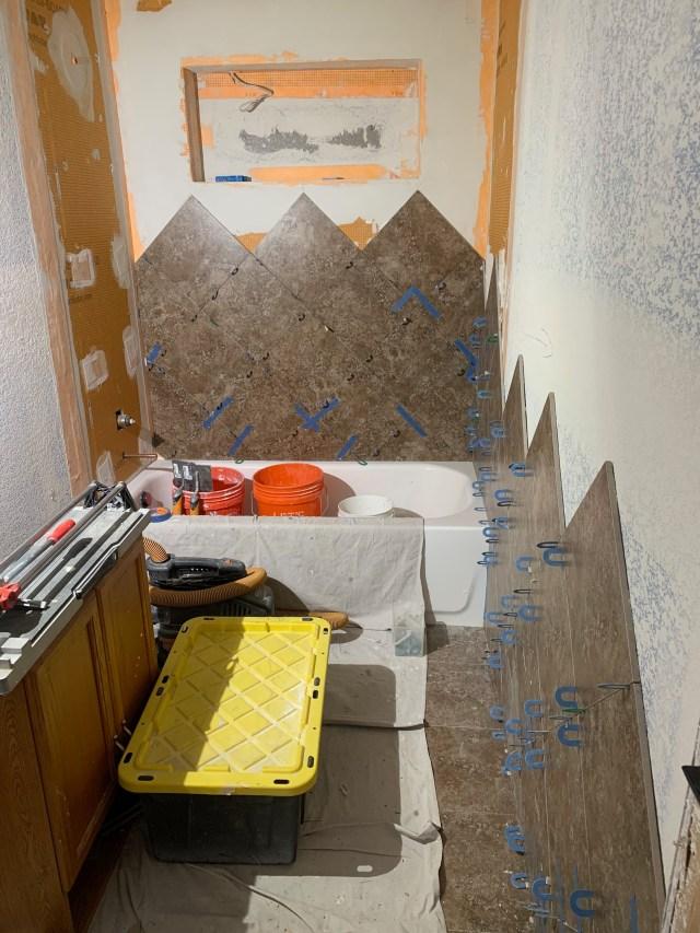 Diagonal tiled walls