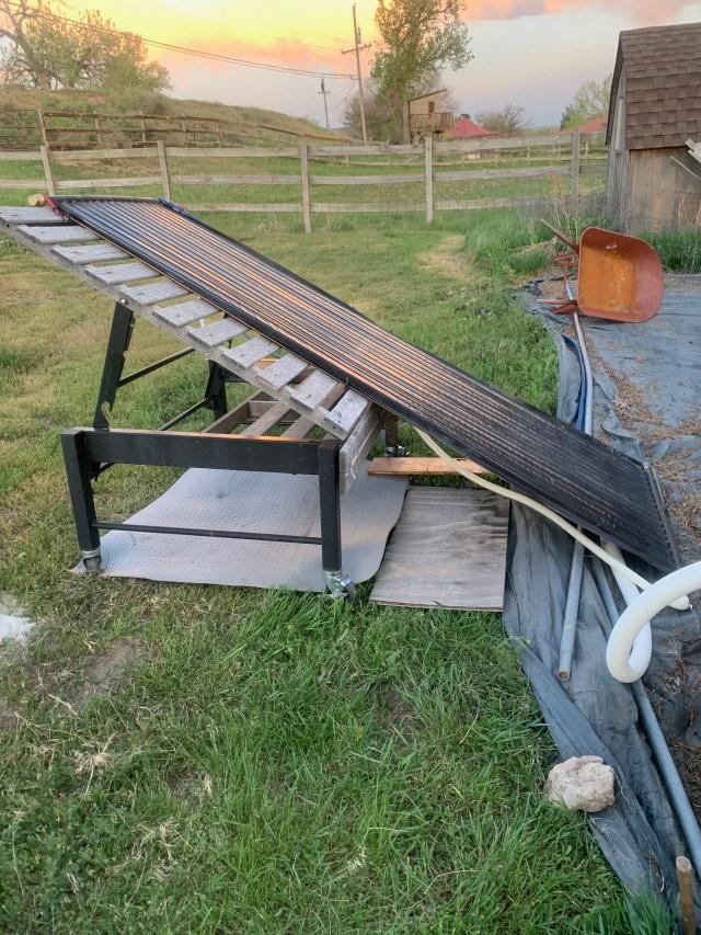 Panel on garden cart frame